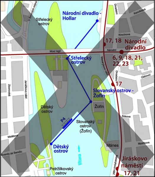 Mapa trasy přívozu P4 | Pražské Benátky