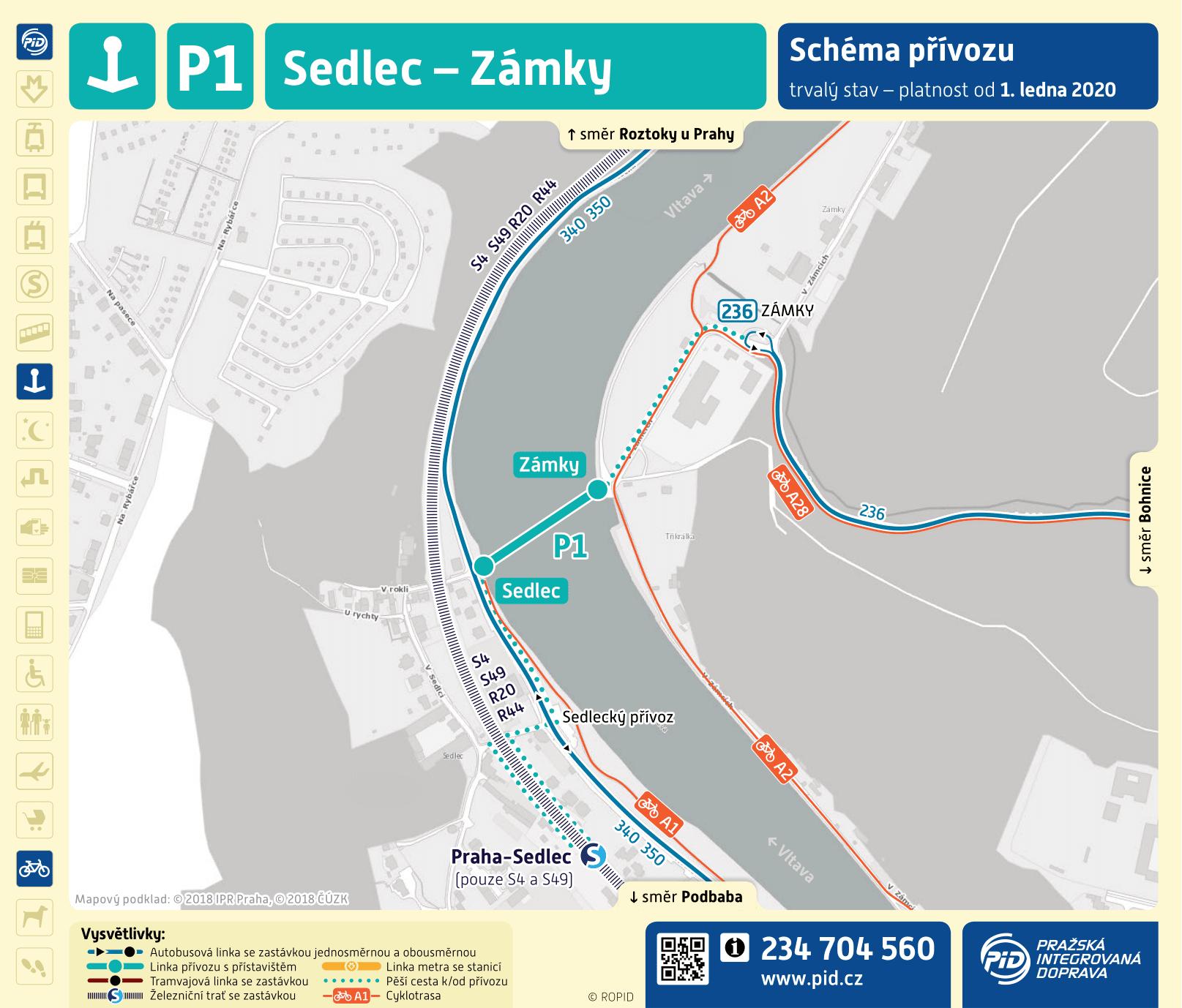 Mapa trasy přívozu P1 | Pražské Benátky
