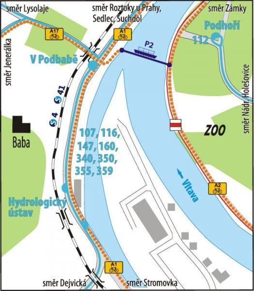 Mapa trasy přívozu P2 | Pražské Benátky