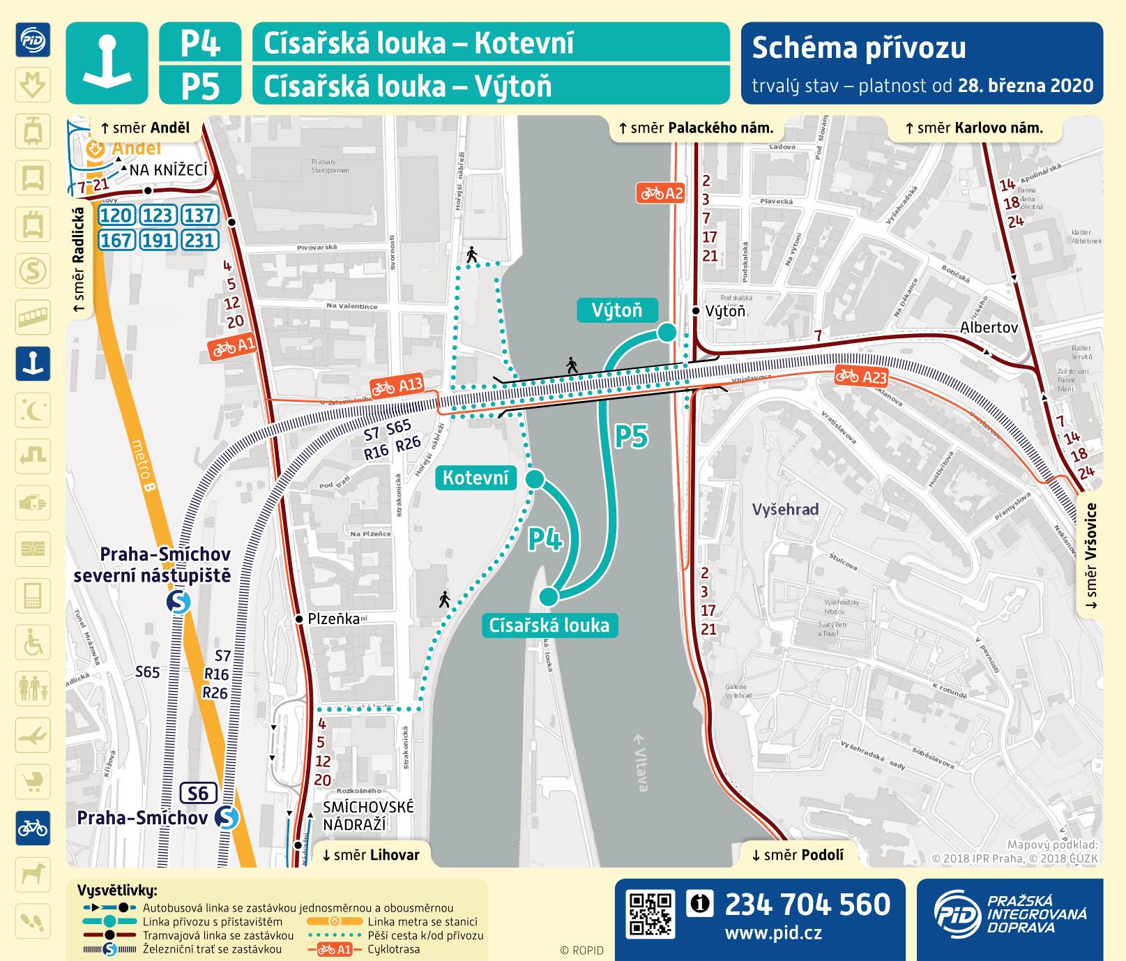 Mapa trasy přívozu P3 | Pražské Benátky