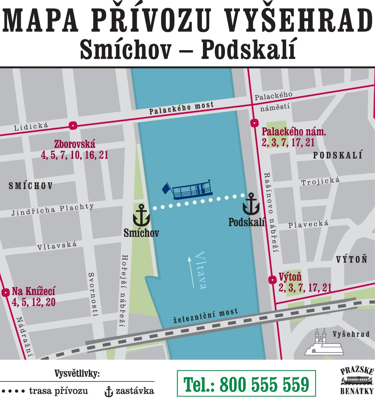 Mapa trasy přívozu Vyšehrad | Pražské Benátky