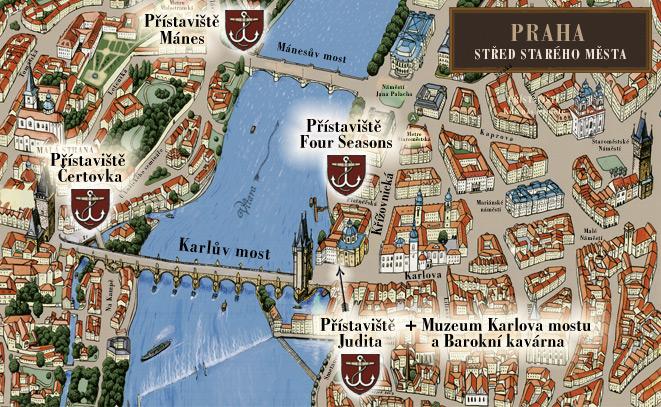 Mapa přístavišť Pražských Benátek | Pražské Benátky