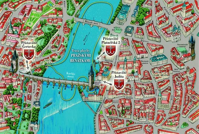 Trasa plavby v Pražských Benátkách | Pražské Benátky