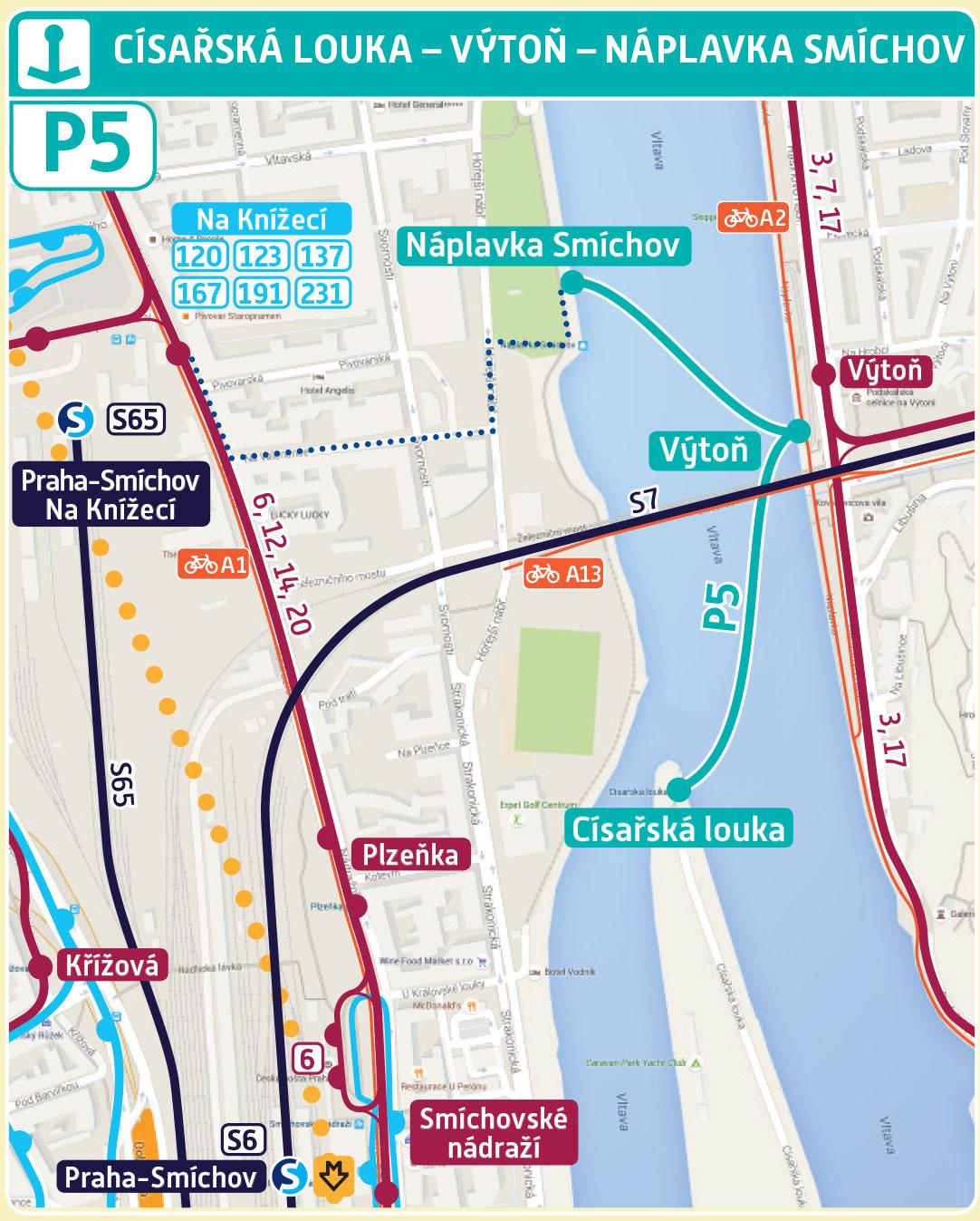 Mapa trasy přívozu P5 | Pražské Benátky