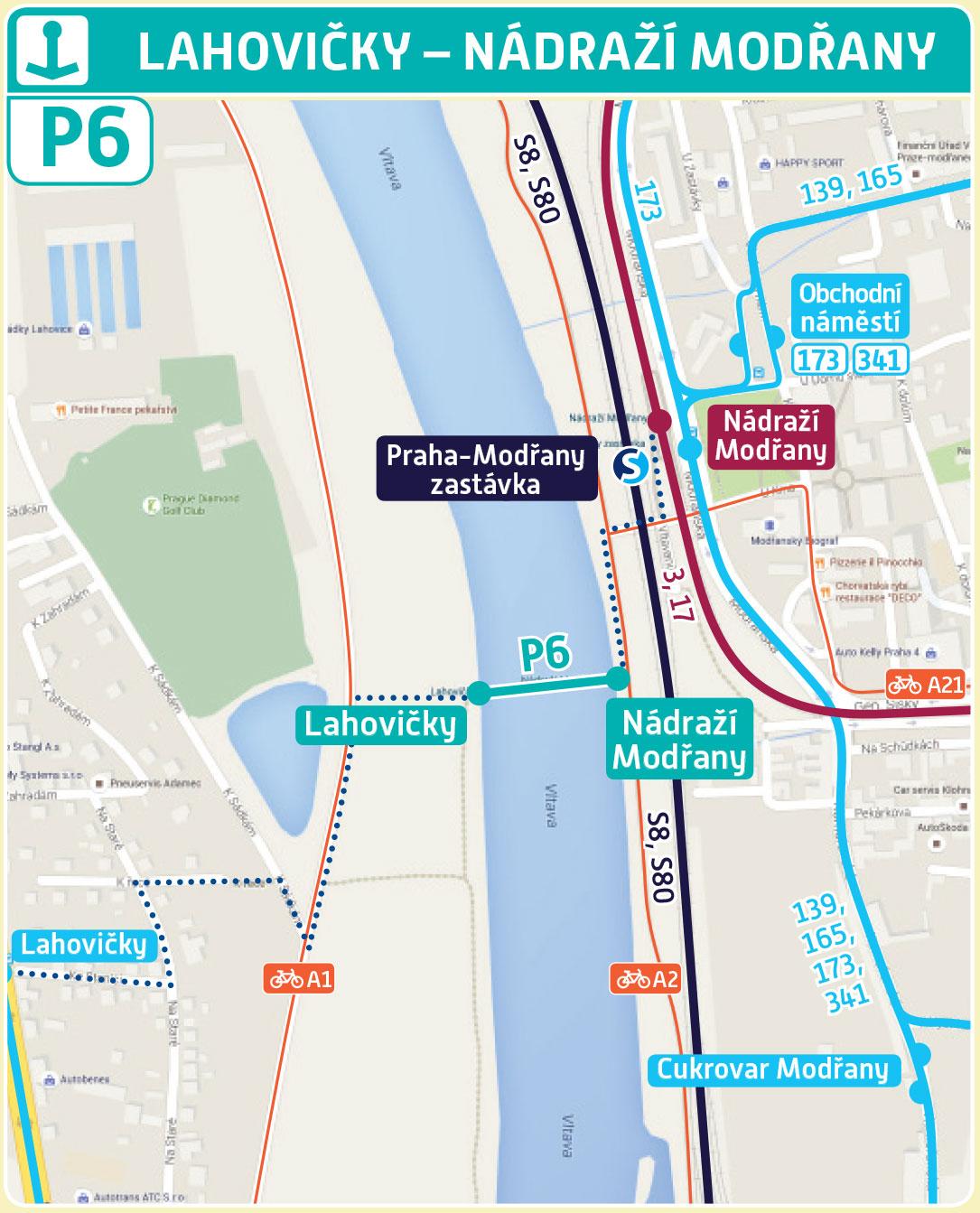 Mapa trasy přívozu P6 | Pražské Benátky