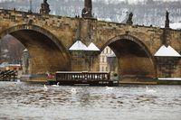 Člun Vodouch podplouvá zasněžený Karlův most | Pražské Benátky